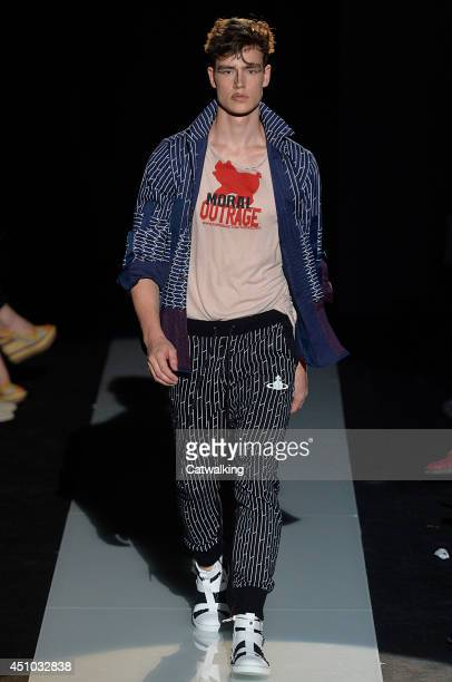 A model walks the runway at the Vivienne Westwood Spring Summer 2015 fashion show during Milan Menswear Fashion Week on June 22 2014 in Milan Italy