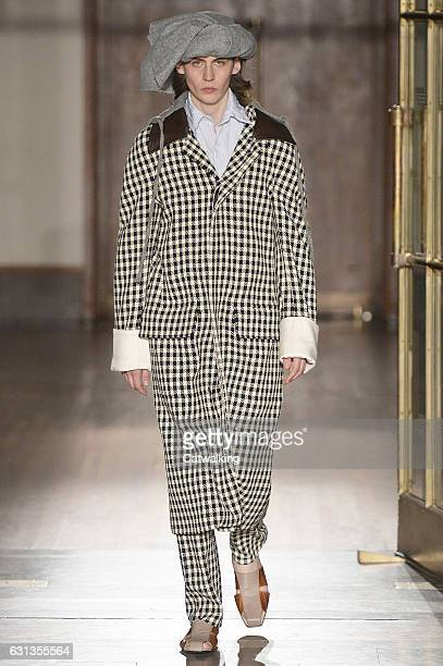A model walks the runway at the Wales Bonner Autumn Winter 2017 fashion show during London Menswear Fashion Week on January 8 2017 in London United...