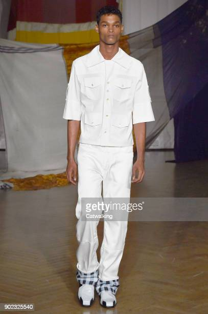 A model walks the runway at the Wales Bonner Autumn Winter 2018 fashion show during London Menswear Fashion Week on January 7 2018 in London United...