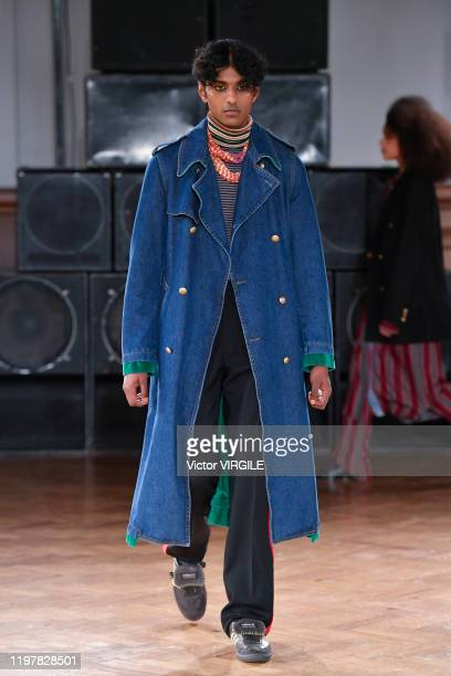 Model walks the runway at the Wales Bonner Fall/Winter 2020-2021 fashion show during London Fashion Week Men's January 2020 on January 05, 2020 in...