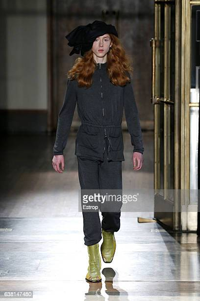 A model walks the runway at the Wales Bonner show during London Fashion Week Men's January 2017 collections at BFC Show Space on January 8 2017 in...