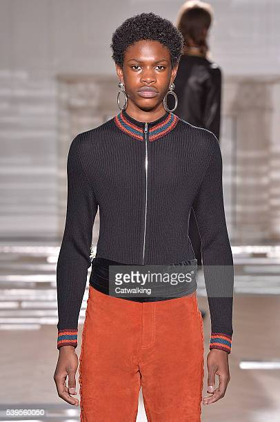A model walks the runway at the Wales Bonner Spring Summer 2017 fashion show during London Menswear Fashion Week on June 12 2016 in London United...