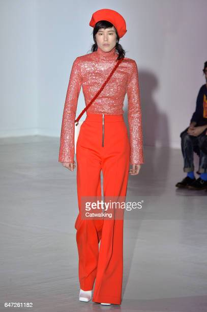 Model walks the runway at the Wanda Nylon Autumn Winter 2017 fashion show during Paris Fashion Week on March 1, 2017 in Paris, France.