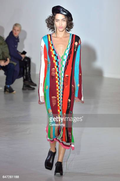 A model walks the runway at the Wanda Nylon Autumn Winter 2017 fashion show during Paris Fashion Week on March 1 2017 in Paris France
