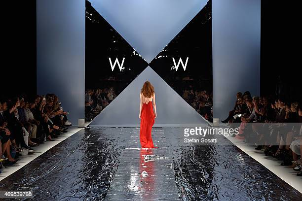 A model walks the runway at the Watson X Watson show at MercedesBenz Fashion Week Australia 2015 at Carriageworks on April 13 2015 in Sydney Australia