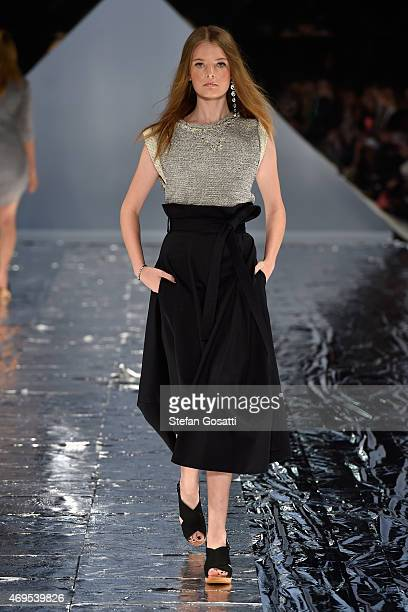 A model walks the runway at the Watson X Watson show at MercedesBenz Fashion Week Australia 2015 at Carriageworks on April 13 2015 in Sydney Australia