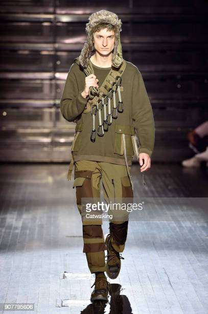 Model walks the runway at the White Mountaineering Autumn Winter 2018 fashion show during Paris Menswear Fashion Week on January 20, 2018 in Paris,...