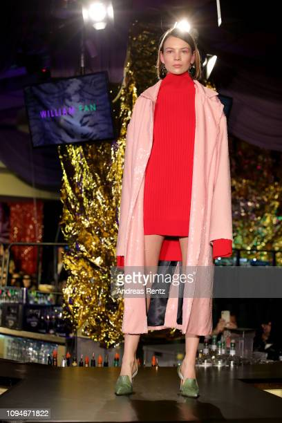 Model walks the runway at the William Fan Defile during 'Der Berliner Salon' Autumn/Winter 2019 at Knutschfleck on January 15, 2019 in Berlin,...