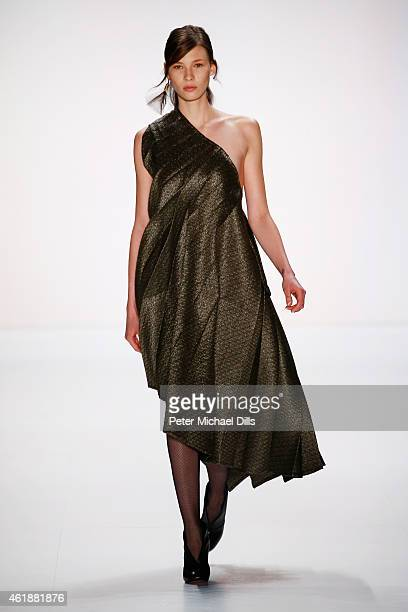A model walks the runway at the William Fan during the MercedesBenz Fashion Week Berlin Autumn/Winter 2015/16 at Brandenburg Gate on January 21 2015...