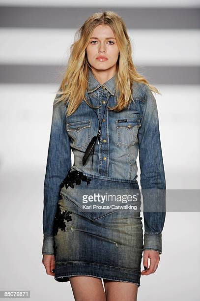 Model walks the runway at the William Rast Fall 2009 fashion show during Mercedes-Benz Fashion Week at The Tent in Bryant Park on February 16, 2009...