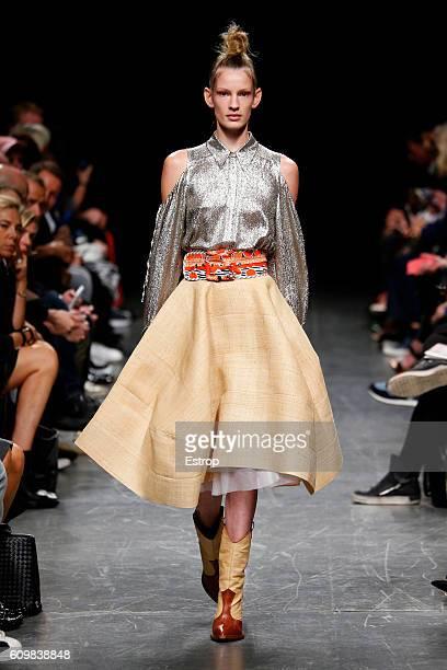 Model walks the runway at the Wunderkind designed by Wolfgang Joop show Milan Fashion Week Spring/Summer 2017 on September 21, 2016 in Milan, Italy.