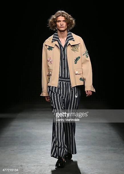A model walks the runway at the Xander Zhou show during The London Collections Men SS16 at Victoria House on June 15 2015 in London England