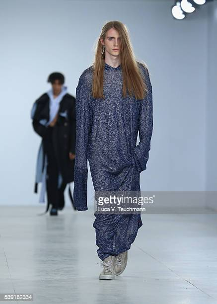 A model walks the runway at the Xander Zhou show during The London Collections Men SS17 at BFC Show Space on June 10 2016 in London England
