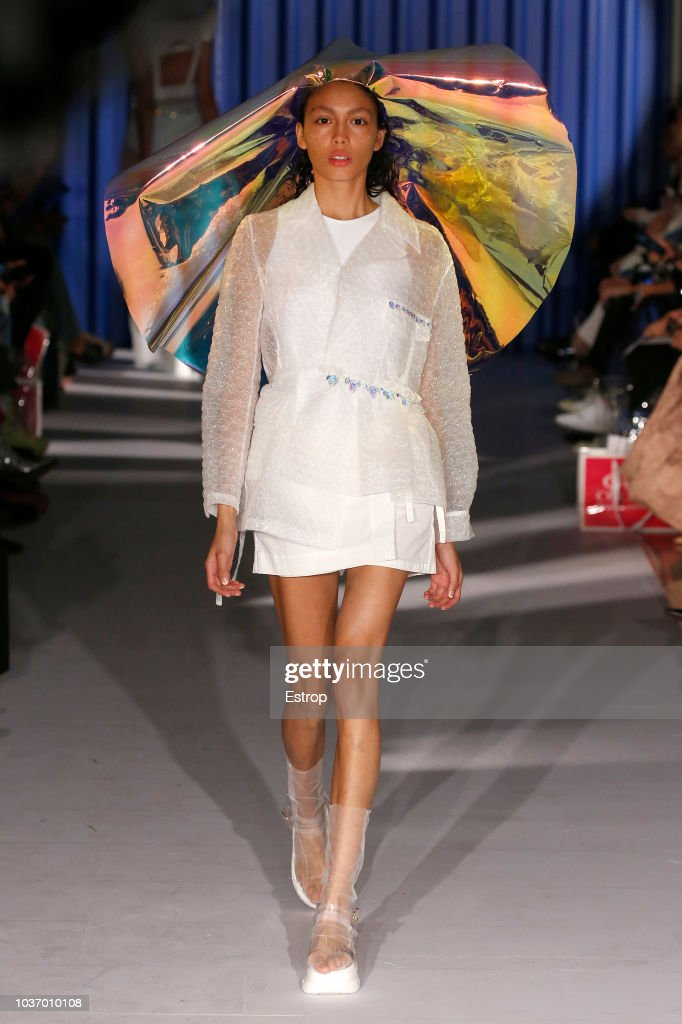 A model walks the runway at the Xiao Li Show during London Fashion Week September 2018 at The BFC Show Space on September 14, 2018 in London, England.