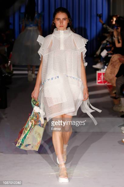 A model walks the runway at the Xiao Li Show during London Fashion Week September 2018 at The BFC Show Space on September 14 2018 in London England