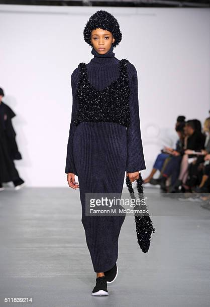 A model walks the runway at the Xiao Li show during London Fashion Week Autumn/Winter 2016/17 at Brewer Street Car Park on February 23 2016 in London...