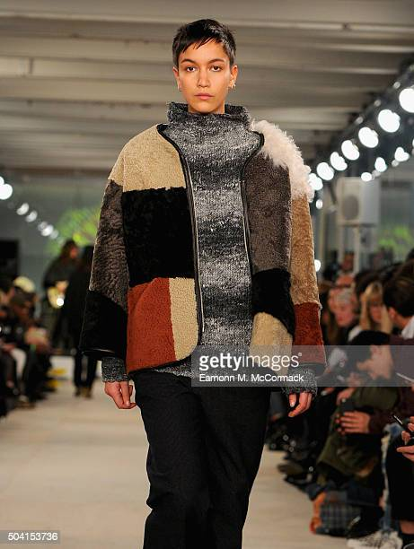 A model walks the runway at the YMC show during The London Collections Men AW16 at 180 The Strand on January 9 2016 in London England