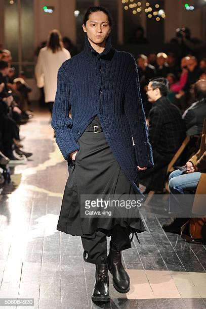 Model walks the runway at the Yohji Yamamoto Autumn Winter 2016 fashion show during Paris Menswear Fashion Week on January 21, 2016 in Paris, France.