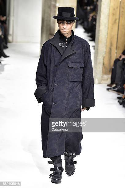 A model walks the runway at the Yohji Yamamoto Autumn Winter 2017 fashion show during Paris Menswear Fashion Week on January 19 2017 in Paris France