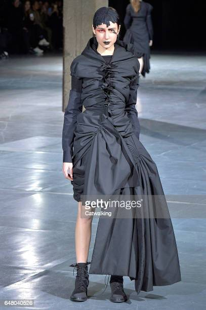 Model walks the runway at the Yohji Yamamoto Autumn Winter 2017 fashion show during Paris Fashion Week on March 3, 2017 in Paris, France.