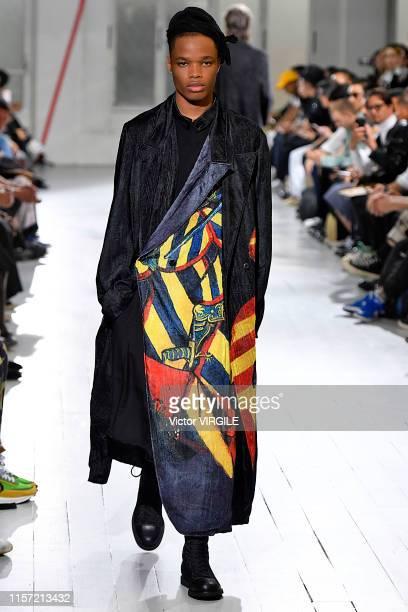 Model walks the runway at the Yohji Yamamoto fashion show during Paris Men's Fashion Week Spring/Summer 2020 on June 20, 2019 in Paris, France.