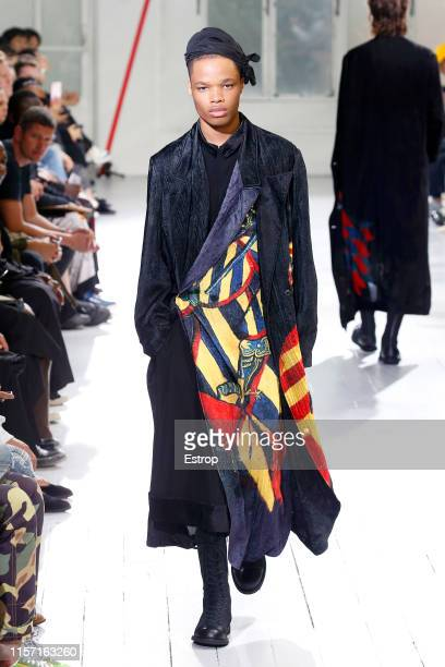 Model walks the runway at the Yohji Yamamoto show during Paris Men's Fashion Week Spring/Summer 2020 on June 20, 2019 in Paris, France.