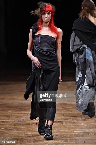 Model walks the runway at the Yohji Yamamoto Spring Summer 2016 fashion show during Paris Fashion Week on October 2, 2015 in Paris, France.