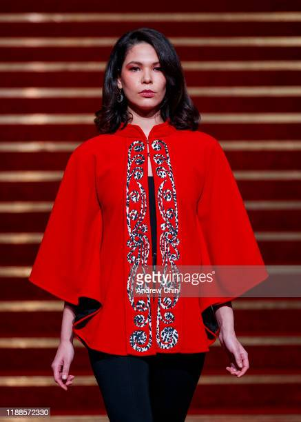 A model walks the runway at the Yolonda Skelton fashion show during Vancouver Indigenous Fashion Week at Orpheum Theatre Lobby on November 18 2019 in...