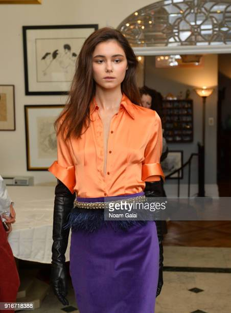 A model walks the runway at the Yuna Yang fashion show during New York Fashion Week on February 10 2018 in New York City