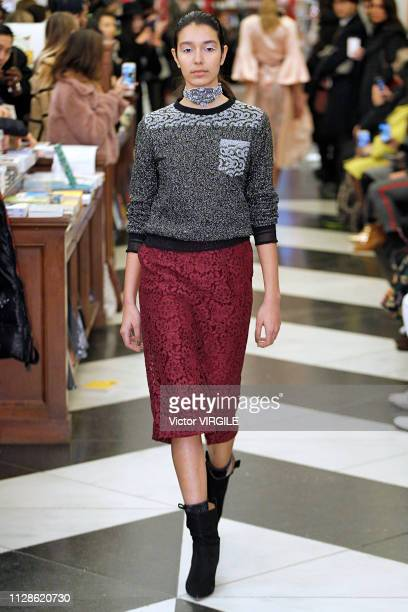 Model walks the runway at the Yuna Yang Ready to Wear Fall/Winter 2019-2020 fashion show during New York Fashion Week on February 9, 2019 in New York...