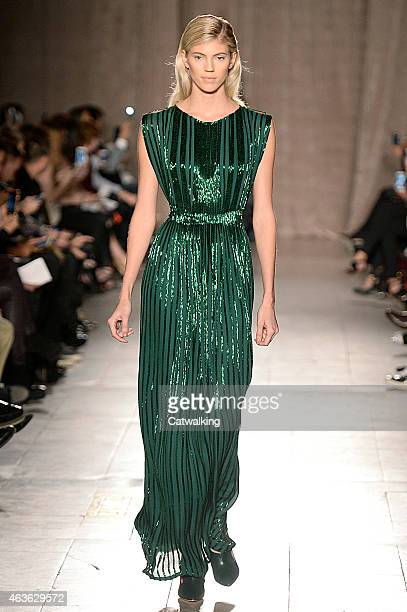 A model walks the runway at the Zac Posen Autumn Winter 2015 fashion show during New York Fashion Week on February 16 2015 in New York United States