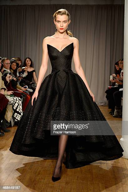 Model walks the runway at the Zac Posen fashion show during Mercedes-Benz Fashion Week Fall 2014 on February 10, 2014 in New York City.