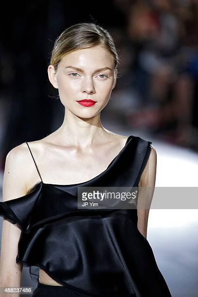 A model walks the runway at the Zac Posen Spring 2016 fashion show during New York Fashion Week at Vanderbilt Hall at Grand Central Terminal on...