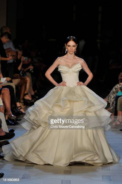 A model walks the runway at the Zac Posen Spring Summer 2013 fashion show during New York Fashion Week on September 9 2012 in New York United States