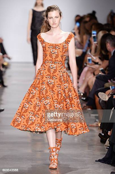 A model walks the runway at the Zac Posen Spring Summer 2017 fashion show during New York Fashion Week on September 12 2016 in New York United States