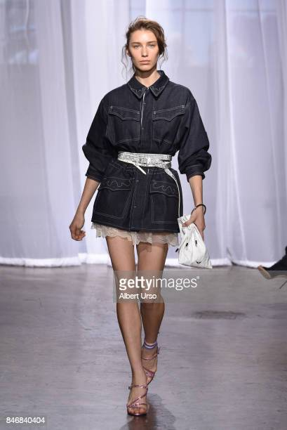 A model walks the runway at the Zadig Voltaire fashion show during New York Fashion Week at Cedar Lake on September 11 2017 in New York City