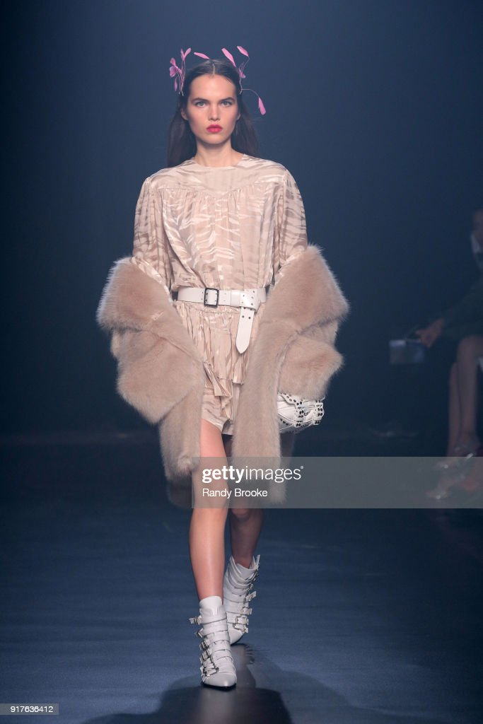 A model walks the runway at the Zadig & Voltaire february 2018 New York Fashion Week show at Cedar Lake on February 12, 2018 in New York City.