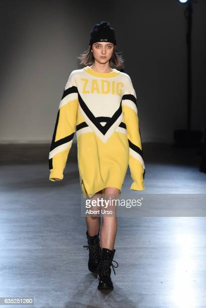 A model walks the runway at the Zagdig Voltaire fashion show during New York Fashion Week at Skylight Modern on February 13 2017 in New York City