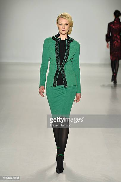A model walks the runway at the Zang Toi fashion show during MercedesBenz Fashion Week Fall 2014 at The Salon at Lincoln Center on February 12 2014...