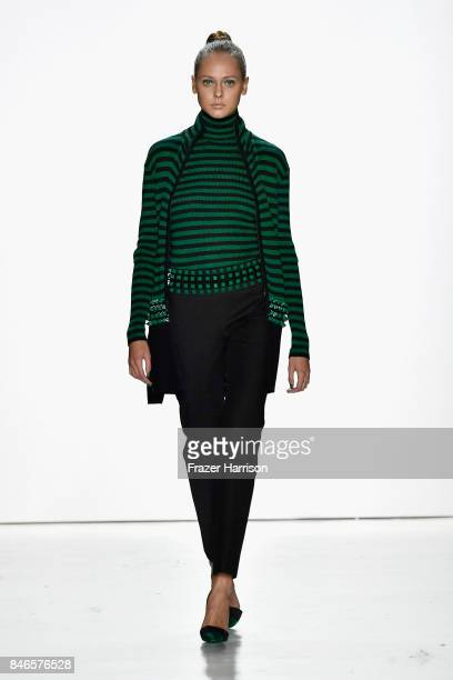 A model walks the runway at the Zang Toi fashion show during New York Fashion Week The Shows at Gallery 3 Skylight Clarkson Sq on September 13 2017...