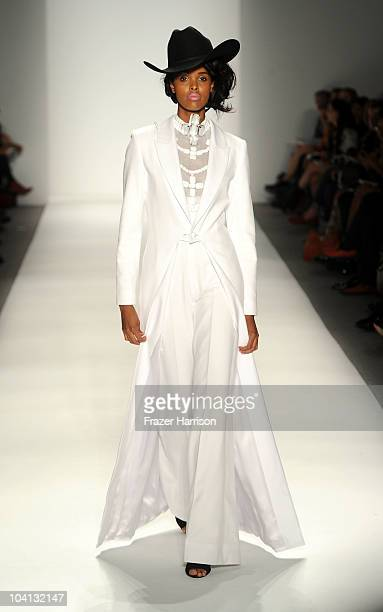 A model walks the runway at the Zang Toi Spring 2011 fashion show during MercedesBenz Fashion Week at The Studio at Lincoln Center on September 15...