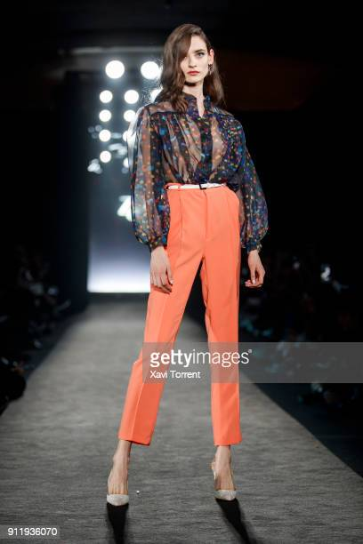 A model walks the runway at the Ze Garcia show during the Barcelona 080 Fashion Week on January 29 2018 in Barcelona Spain
