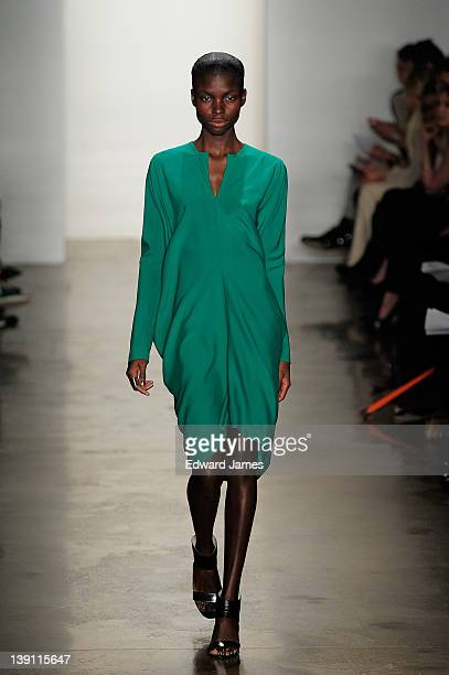 Model walks the runway at the Zero + Maria Cornejo Fall 2012 fashion show during Mercedes-Benz Fashion Week at Milk Studios on February 13, 2012 in...