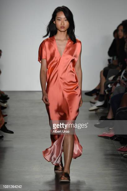 A model walks the runway at the Zero Maria Cornejo show during New York Fashion Week at Pier 59 on September 10 2018 in New York City