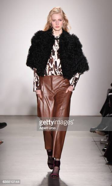 A model walks the runway at the Zero Maria Cornejo show during New York Fashion Week at Pier 59 on February 13 2017 in New York City