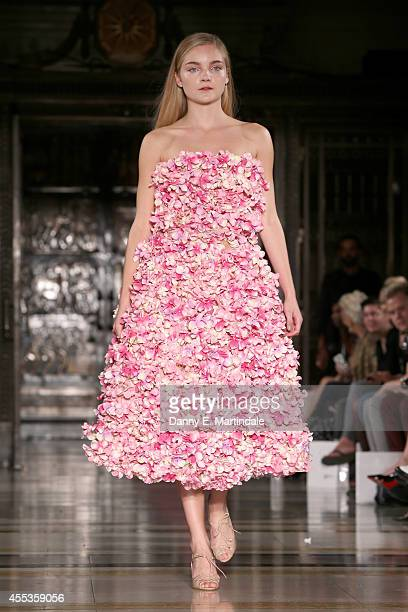 A model walks the runway at the Zeynep Kartal show during London Fashion Week Spring Summer 2015 at Fashion Scout Venue on September 13 2014 in...