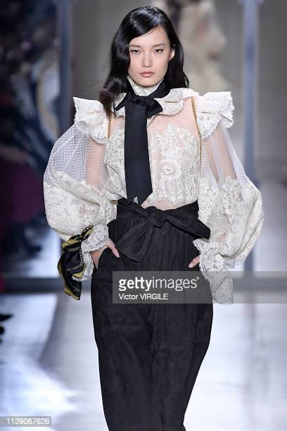 A model walks the runway at the Zimmermann Ready to Wear Fall/Winter 20192020 fashion show during New York Fashion Week on February 11 2019 in New...