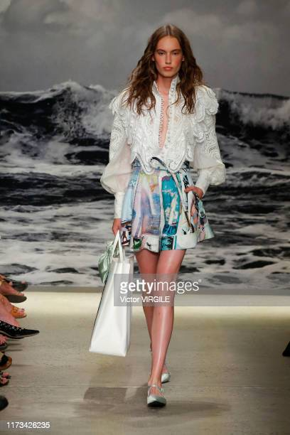 A model walks the runway at the Zimmermann Ready to Wear Spring/Summer 2020 fashion show during New York Fashion Week on September 09 2019 in New...
