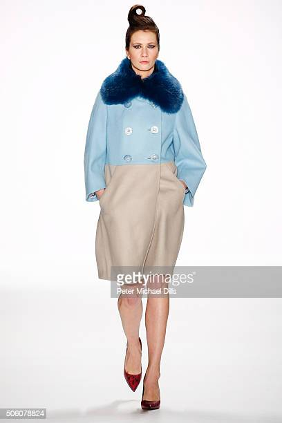 A model walks the runway at the Zukker show during the MercedesBenz Fashion Week Berlin Autumn/Winter 2016 at Brandenburg Gate on January 21 2016 in...