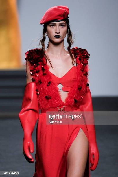 A model walks the runway at then ANA LOCKING show during the MercedesBenz Madrid Fashion Week Autumn/Winter 2017/2018 at IFEMA on February 18 2017 in...
